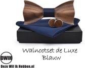 Walnoot houten strik deluxe met manchetknopen en Pochette, Blauw