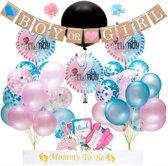 Gender Reveal Versiering Pakket -  65 Stuks - Gender Reveal Ballon - Baby Shower Decoratie