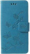 Shop4 - Samsung Galaxy S9 Hoesje - Wallet Case Vlinder Patroon Blauw