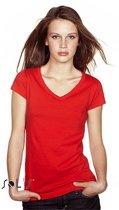Dames t-shirt  V-hals rood 44 (2XL)