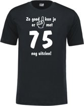 Mijncadeautje - Leeftijd T-shirt - Zo goed kun je er uitzien 75 jaar - Unisex - Zwart (maat XL)