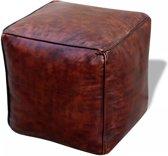 vidaXL Poef echt leer vierkant bruin 45x45x45 cm