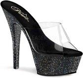 FLAMINGO-891LG (EU 38 = US 8) 8 Heel, 4 PF Glitter Ankle Strap Sandal
