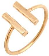 Lovelymusthaves Dubbele bar minimalistische Ring - Dames - verstelbaar goudkleurig in luxe geschenkdoos