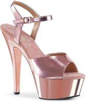 KISS-209 (EU 40 = US 10) 6 Heel, 1 3/4 Chrome Plated PF Ankle Strap Sandal