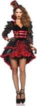 Rood met zwart vampier kostuum voor vrouwen  - Verkleedkleding - Medium