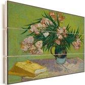 Oleanders - Schilderij van Vincent van Gogh Vurenhout met planken 80x60 cm - Foto print op Hout (Wanddecoratie)