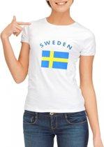 Wit dames t-shirt met vlag van Zweden L
