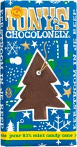 Tony's Chocolonely Kerstreep puur 51% mint candy cane - 180g
