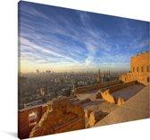 Oranje gekleurde huizen door de laagstaande zon in Caïro Canvas 90x60 cm - Foto print op Canvas schilderij (Wanddecoratie woonkamer / slaapkamer)