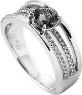 Diamonfire - Zilveren ring met steen Maat 17.5 - Gladde ring - Grijze steen - Chaton