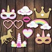 Photobooth party props set - Foto accessoires - Eenhoorn - Unicorn - 10 stuks