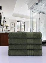 Luxe Katoen Handdoek Groen | 50x100 | Set van 4 | Met Een Geweven Bies