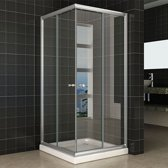 Douchecabine Eco Vierkant Hoekinstap Schuifdeur 90x90x190cm Helder Glas Chroom Profiel 5mm Veiligheidsglas Easy Clean