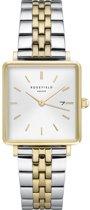 Rosefield The Boxy Dames Horloge - Zilver + Goud Ø26mm - QVSGD-Q013