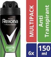 Rexona Dry Quantum Men - 6 x 150 ml - Deodorant Spray - Voordeelverpakking