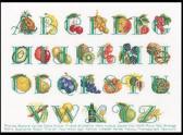 Thea Gouverneur Borduurpakket 2090 Fruit Alphabet - Linnen stof