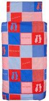 Jollein Home Sweet Home - Dekbedovertrek 100x140 cm - Rood/Blauw