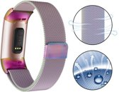 Milanese Loop Armband Voor Fitbit Charge 3 Horloge Bandje Strap - Milanees Armband Polsband Band - Small/Large - Rainbow Colorful