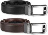 PU-Lederen Heren Riemen - 2 Stuks - Zwart en Bruin - Verstelbare Riem zonder Gaatjes tot 130 cm