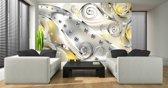 Fotobehang Design, Rozen   Zilver, Geel   152,5x104cm