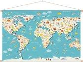 Wereldkaarten.nl - Kinder wereldkaart op schoolplaat zoekplaatje 60x40 cm ronde stokken