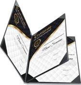 Rapportmap / Diplomamap / Certificaat Mappen - 4x A5 - Zwart