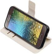 Wit Samsung Galaxy E5 TPU wallet case booktype hoesje HM Book