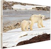 Moeder en zoon ijsbeer Hout 30x20 cm - klein - Foto print op Hout (Wanddecoratie)