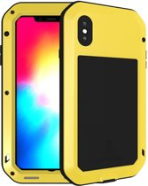 Metalen fullbody hoes voor Apple IPhone XS Max, Love Mei, metalen extreme protection case, zwart-geel