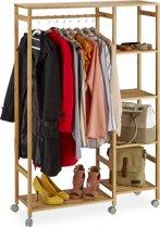 relaxdays kledingrek verrijdbaar - kledingstandaard - garderobe - met wielen - bamboe
