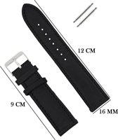 Horlogeband 16MM Aanzetmaat met Gehechte Randen - Echt Leer + Push Pins - Zwart