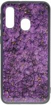 Shop4 - Samsung Galaxy A40 Hoesje - Zachte Back Case Mineralen Paars