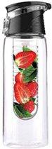 Tritan water infuser fles met anti lek dop en ophang clip - Fruit water fles - 0,7 liter - Zwart