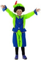 Pietenpak fluweel blauw/groen 6-8 jaar