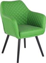 Clp Gent - Eetkamerstoel - Kunstleer - Groen - Kleur onderstel : Zwart
