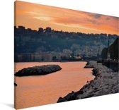 Oranje lucht boven Napels in Italië Canvas 60x40 cm - Foto print op Canvas schilderij (Wanddecoratie woonkamer / slaapkamer)