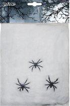 Spinnenweb 20 gram wit + 3 spinnen