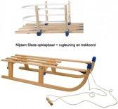 Slede hout opklapbaar 110cm + rugleuning 0299 - Houten slee
