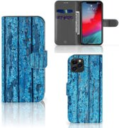 iPhone 11 Pro Book Style Case Blauw Wood