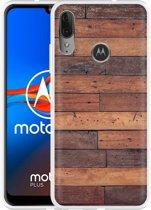 Motorola Moto E6 Plus Hoesje Houten planken