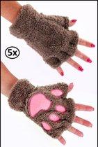 5x Vingerloze handschoenen pluche dierenpootje licht bruin