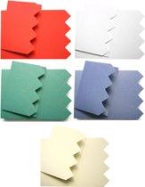 Dubbele Kaarten Set - Met vierkantjes Relief - 40 Stuks - 5 Kleuren - Met enveloppen - Maak wenskaarten voor elke gelegenheid