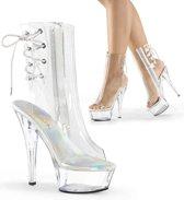 EU 40 = US 10   KISS-1018C   6 Heel, 1 3/4 PF Open Toe/Heel Ankle Boot, Side Zip