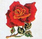 Thea Gouverneur Borduurpakket 817A Roos rood - Aida stof 100% katoen