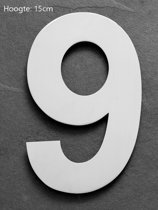 Huisnummer 15 cm RVS  Hoogte 15cm  Nummer 9