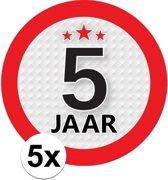 5x 5 Jaar leeftijd stickers rond 9 cm - 5 jaar verjaardag/jubileum versiering