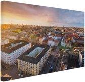 FotoCadeau.nl - Uitzicht over Kopenhagen Canvas 120x80 cm - Foto print op Canvas schilderij (Wanddecoratie)