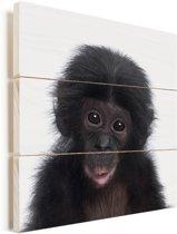 Chimpansee - Portret dierenprint kinderkamer Vurenhout met planken 50x50 cm