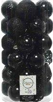 Decoris kerstballen mix - 37 stuks - 6 cm -  zwart - plastic
